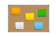Ejemplo realista del vector del tablero marrón del corcho con el marco y de las etiquetas engomadas para la memorización, las not stock de ilustración