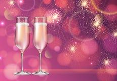 Ejemplo realista del vector del vidrio del champán en fondo borroso de la chispa del rosa del día de fiesta libre illustration