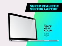 Ejemplo realista estupendo del vector del ordenador portátil de aluminio Fotografía de archivo
