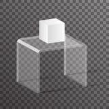 Ejemplo realista isométrico de cristal del vector del diseño del podio 3d del estante del estante ilustración del vector