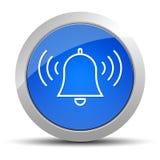Ejemplo redondo azul de sonido del botón del icono de la campana de la alarma ilustración del vector