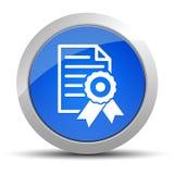 Ejemplo redondo azul del botón del icono del papel del certificado libre illustration