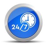 24/7 ejemplo redondo azul del botón del icono del reloj stock de ilustración