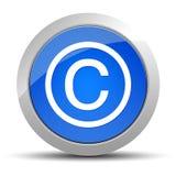 Ejemplo redondo azul del botón del icono del símbolo de Copyright ilustración del vector