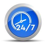 24/7 ejemplo redondo azul del bot?n del icono del reloj stock de ilustración