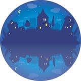 Ejemplo redondo del vector del pueblo por noche Foto de archivo libre de regalías