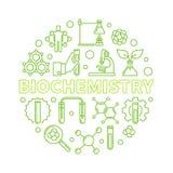 Ejemplo redondo del verde del esquema del concepto del vector de la bioquímica ilustración del vector