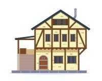 Ejemplo residencial medieval de la casa del vintage ilustración del vector