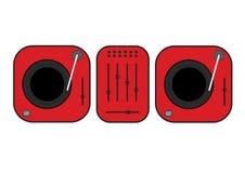 Ejemplo resumido plano de las placas giratorias de DJ Placa giratoria roja del vinilo Dibujo plano del vector del estilo Gramófon Foto de archivo