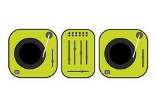 Ejemplo resumido plano de las placas giratorias de DJ Placa giratoria verde del vinilo Dibujo plano del vector del estilo Gramófo Imagen de archivo libre de regalías