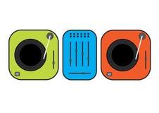 Ejemplo resumido plano de las placas giratorias de DJ Placas giratorias verdes y rojas del vinilo Dibujo plano del vector del est Foto de archivo libre de regalías