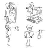 Ejemplo retro aislado icono retro del vector del diseño de la historieta de Cartoon Characters Set del hombre de negocios del vin Imagen de archivo libre de regalías