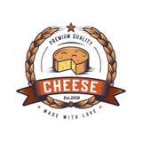 Ejemplo retro de la comida Diseño del logotipo del emblema del inconformista Diseño del logotipo del pan del horno Logotipo del q stock de ilustración