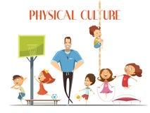 Ejemplo retro de la historieta de la lección física de la cultura ilustración del vector