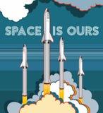 Ejemplo retro de lanzamiento del estilo del vector de la nave espacial de Rocket Nave espacial de la historieta del vector aislad ilustración del vector