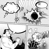Ejemplo retro de las burbujas del discurso del cómic del vector Maqueta de la página con el lugar para el texto, símbolos, efecto stock de ilustración