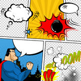 Ejemplo retro de las burbujas del discurso del cómic del vector Maqueta de la página del cómic con el lugar para el texto, discur stock de ilustración