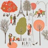 Amor en el ejemplo de París stock de ilustración