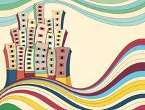 Ejemplo retro del vector de la ciudad Fotografía de archivo libre de regalías