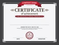 Ejemplo retro del vector de la plantilla del diploma del certificado Foto de archivo
