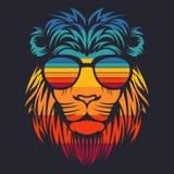 Ejemplo retro del vector de las lentes de la cabeza del león ilustración del vector