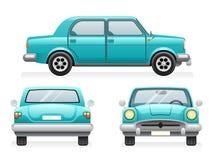 Ejemplo retro del vector de los símbolos de Clipart del transporte del diseño determinado de los iconos del coche de Front Back S stock de ilustración