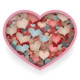 Ejemplo retro del vector del bosquejo de Valentine Day Romantic Love Hearts del modelo del garabato Fotografía de archivo