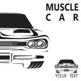 Ejemplo retro del vector del cartel del coche del músculo viejo Imágenes de archivo libres de regalías