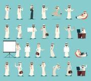 Ejemplo retro del vector del diseño de la historieta del vintage de Character Icons Set del hombre de negocios árabe Fotos de archivo