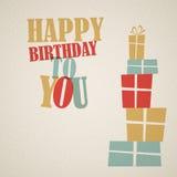 Ejemplo retro del vector del feliz cumpleaños Imagen de archivo libre de regalías