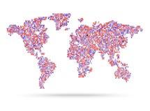 Ejemplo retro rosado del mapa del mundo del estilo de Mosaik Fotografía de archivo
