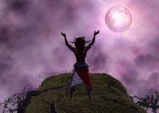 Ejemplo ritual de la luna de Voodoo Black Magic del chamán Imagenes de archivo
