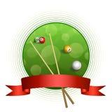 Ejemplo rojo de la cinta del marco del círculo de la bola del verde abstracto del billar del fondo Foto de archivo libre de regalías