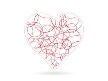 Ejemplo rojo de la plantilla del gráfico de vector de la forma del corazón del garabato Fotografía de archivo libre de regalías