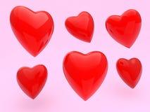 Ejemplo rojo de los corazones en rosa Foto de archivo libre de regalías