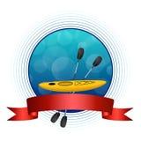 Ejemplo rojo del círculo del marco de la cinta del kajak del fondo del deporte del círculo azul abstracto del amarillo Foto de archivo