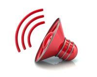 Ejemplo rojo del icono 3d del volumen del altavoz de audio Fotografía de archivo
