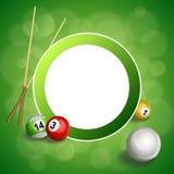 Ejemplo rojo del marco del círculo de la bola del taco de billar verde abstracto del billar del fondo Fotografía de archivo