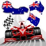 Ejemplo rojo del vector del coche de competición del GP Australia de la fórmula 1 stock de ilustración
