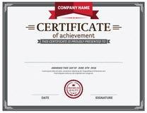 Ejemplo rojo del vector de la plantilla del diploma del certificado de la cinta Imágenes de archivo libres de regalías