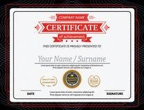 Ejemplo rojo del vector de la plantilla del diploma del certificado de la cinta Foto de archivo