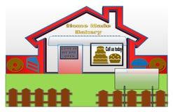 Ejemplo rojo y azul de una panadería hecha en casa stock de ilustración