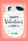 Ejemplo romántico con la gente Concepto de diseño del vector para día de San Valentín y otros usuarios stock de ilustración