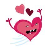 Ejemplo romántico del día de tarjetas del día de San Valentín de la historieta Carácter rosado feliz del corazón Diseño plano del Fotografía de archivo