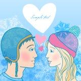 Ejemplo romántico del invierno de pares jovenes Imagenes de archivo