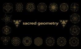 Ejemplo sagrado del vector de los símbolos y de los signes de la geometría Tatuaje del inconformista Flor del símbolo de la vida stock de ilustración