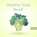 Ejemplo sano de la comida del bróculi de la acuarela Fotografía de archivo