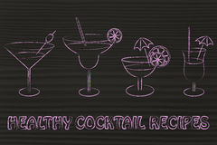 Ejemplo sano de las recetas del cóctel Foto de archivo libre de regalías