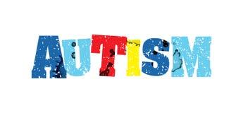 Ejemplo sellado colorido de la palabra del concepto del autismo libre illustration