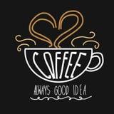 Ejemplo siempre bueno de las letras de la palabra de la idea de la taza de café Fotos de archivo